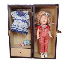 """#antique Early Ideal Shirley Temple 13"""" Doll Original Case Rare Dresses Jumper Pins Hat please retweet"""