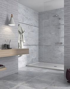 Gorgeous Bathroom Tiles Grey, Your bathroom is just one of the most well-known rooms to get updated when undergoing a house renovation project. A bathroom is a room which is used v. Grey Wall Tiles, Grey Bathroom Tiles, Wall And Floor Tiles, Grey Bathrooms, Bathroom Wall, Small Bathroom, Tiles Uk, House Tiles, Contemporary Bathrooms