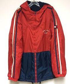 Vtg Tommy Hilfiger Mens XXL Red Jacket Reversible Blue Fleece Zipper Colorblock | eBay
