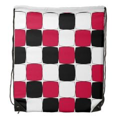 Black, red and white fisheye drawstring bag  $17.95
