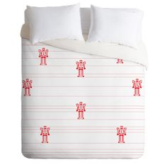 Vy La Robots And Stripes Duvet Cover | DENY Designs Home Accessories