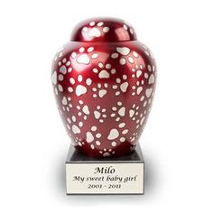Paws of Love Bronze Pet Memorial Urns - Medium - Holds Up To 80 Cubic Inches of Ashes - Red Dog Cremation Urn - Engraving Sold Separately Pet Cremation Urns, Hand Carved, Hand Painted, Funeral Urns, Memorial Urns, Pet Urns, Love Pet, Pet Memorials, Pet Supplies