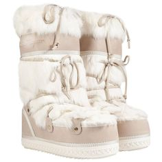 The ultimate in cold weather luxe, Salvatore Ferragamo's fur lined boots feature a cozy mix of rabbit fur and nubuck and a chunky traction outsole White Lace Up Boots, White Slip On Shoes, Slip On Boots, Pull On Boots, Fur Boots, Lace Up Shoes, Laced Boots, White Fur, Heel Boots