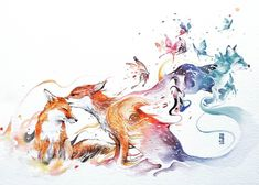 Foxes. Vibrant Fantasy Watercolor Animal Paintings. By Luqman Reza Mulyono.