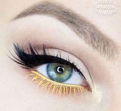Simple eye makeup with cool yellow eyeliner and mascara