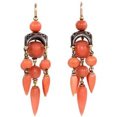 Pre-owned French Antique Coral and Gold Earrings ($14,500) ❤ liked on Polyvore featuring jewelry, earrings, brinco, dangle earrings, gold teardrop earrings, 18k gold earrings, coral earrings, teardrop earrings and gold earrings