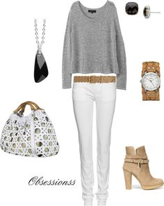 Grey and White, created by obsessionss on Polyvore