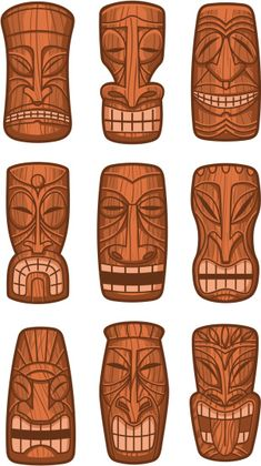 masks for the totem pole Más Totem Pole Craft, Tiki Totem, Tiki Art, Tiki Tiki, Tiki Maske, Art Indien, Tiki Faces, Tiki Head, Polynesian Art