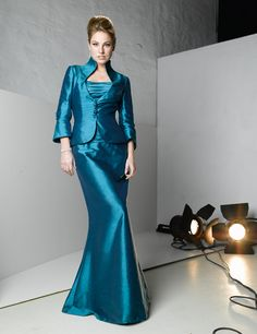 Blue Ruffles Flat Floor Length Two Pieces 3/4 Sleeves Winter Mother of Bride Dresses