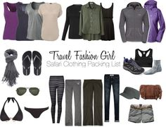 Safari Clothing Packing List Ideas- (I will take out the purple, navy & black items since they attract tsetse tsetse flies that bite!)