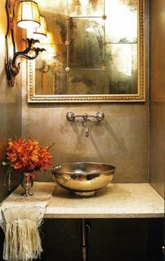 Hammered metal sink. Vintage repro mirror. Aidan Gray mirror http://www.laylagrayce.com/Products/Aidan-Gray-Decor-Lommel-Mirror__AGDM143.aspx