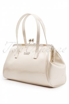 Collectif Clothing - 50s Retro Kiss Lock Handbag Ivory pearlescent patent