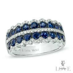 Vera Wang LOVE Collection Blue Sapphire and 1/3 CT. T.W. Diamond Double Row Anniversary Band in 14K White Gold - Zales