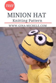 FREE knitting pattern for this Minion Hat!