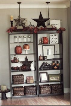 Bookshelves decor ideas @ Home Improvement Ideas #homeimprovementHalloween, #homeimprovementbook,