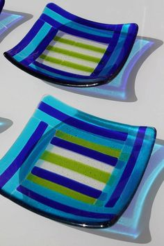 Set of 4 blue green and teal striped square glass fused by KalonaR, $80.00
