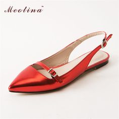 Meotina Women Shoes Sandals Summer 2017 Pointed Toe Flat Sandals Sweet Buckle Ladies Sandals Shoes Red Gold Plus Size 9 10 Flat Sandals, Women's Shoes Sandals, Metallic Shoes, Slingback Shoes, Toe Shape, Red Shoes, Womens Flats, Fashion Boots, Slip On Shoes