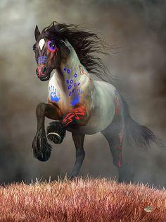 War Horse Digital Art - Galloping War Horse by Daniel Eskridge Native American Animals, Native American Warrior, Native American Pictures, Native American Artwork, American Indian Art, Cute Horses, Pretty Horses, Horse Love, Beautiful Horses