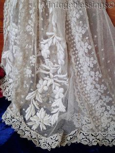 www.Vintageblessings.com Exceptional c1880 Antique French Net Lace Skirt Embroidered Confection