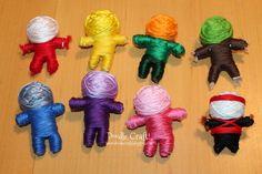Doodlecraft: Make Your Own String Voodoo Dolls! Diy Voodoo Doll Keychain, Diy Voodoo Dolls, String Voodoo Dolls, Diy Crafts On A Budget, Crafts For Kids, Doll Crafts, Yarn Crafts, Yarn Dolls, Dolls Dolls