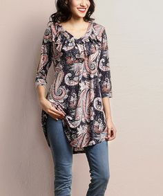 Another great find on #zulily! Navy Paisley Ruffle V-Neck Tunic #zulilyfinds