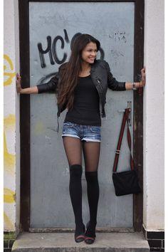 Black HM Jacket and stockings.