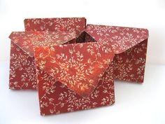 Brick Red Floral Handmade Envelope boxes Small boxes Qty 5 jewelry packaging box Envelopes 3-1/8 x 2-5/8 x 1/4 deep Box-a-Lopes. $2.99, via Etsy.