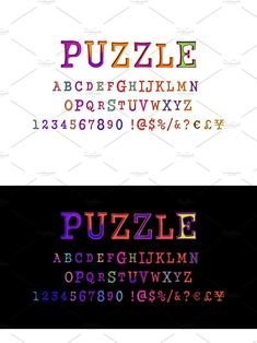 Typographic Design, Alphabet And Numbers, Jigsaw Puzzles, Texts, Typography Design, Puzzle Games, Puzzles, Text Messages, Type Design