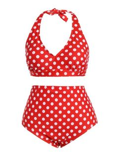SHARE & Get it FREE | Polka Dot Halter Plus Size Vintage Bikini - RedFor Fashion Lovers only:80,000+ Items • New Arrivals Daily Join Zaful: Get YOUR $50 NOW!