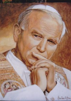 Portrait of John Paul II acrylic on canvas Stanislaw Witold Bienias