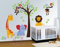 Nursery Wall Decals Baby Wall Decal Safari Wall Decal by evgieNev