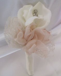 Fabric Flower Boutonniere  Groom Groomsmen  by theraggedyrose, $18.00