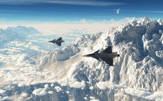 Military aircraft flying through mountains...