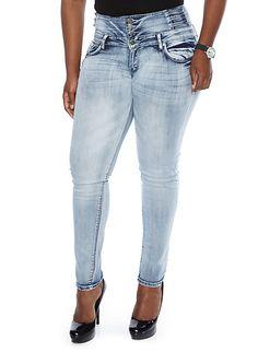 Plus-Size Light Wash Jeans