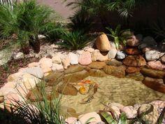 Lago com peixes pequeno com decoração com pedras