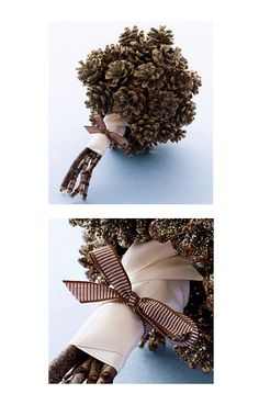 pinecone wedding bouquet - first time I have seen something like this - sure it is cost friendly as well