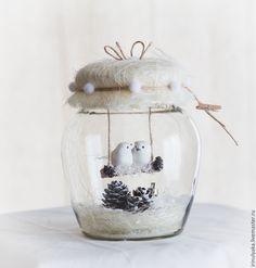 Купить Птички в баночке. - белый, зима в банке, птички в банке, подарок на день рождение