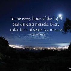 To me every hour of the light and dark is a miracle. Every cubic inch of space is a miracle. ~Walt Whitman  - From http://www.simplyspiritualliving.org/simply/to-me-every-hour-of-the-light-and-dark-is-a-miracle-every-cubic-inch-of-space-is-a-miracle/