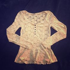 Free People Peplum Lace Top This top is a very light pink color. Very good used condition. Please ask if you have any questions! Free People Tops Tees - Long Sleeve