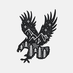 Sold!  | Always working on more pre-made designs so get in touch if there's anything you like!  #graphicdesign #design #art #artwork #drawing #handdrawn #illustration #slowroastedco #outdoors #tattoo #eagle #travel #nature #explore #mountains #adventure #wild