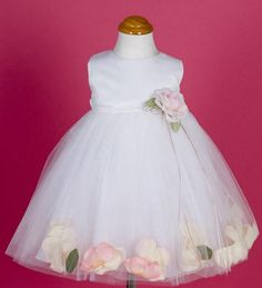 Satin petal dress for baby has an elegant dupioni satin bodice with floating… Kids Flower Girl Dresses, Flower Girl Gifts, Flower Dresses, Toddler Dress, Baby Dress, North Cyprus, Kid Essentials, Floating Flowers, Flower Petals