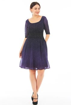 $64.95--STYLE # CL0051325---Ombre star print pleated empire georgette dress from eShakti