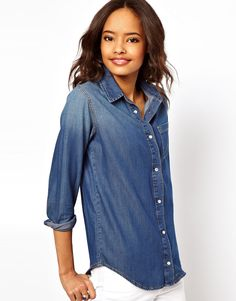 $52, Blue Denim Shirt: Asos Denim Shirt In Dark Vintage Wash. Sold by Asos. Click for more info: https://lookastic.com/women/shop_items/155474/redirect