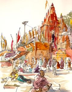 Travel Art Watercolor, Orange Temple, Varanasi, India, Study in warm colors: red, orange and terracotta, A sketch - 8x10 print, $20