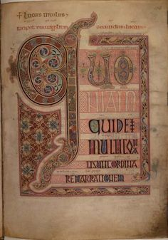 The Lindisfarne Gospels, an eighth-century manuscript in which calligraphy is combined with intricate decoration. Cotton Nero D IV, f.139