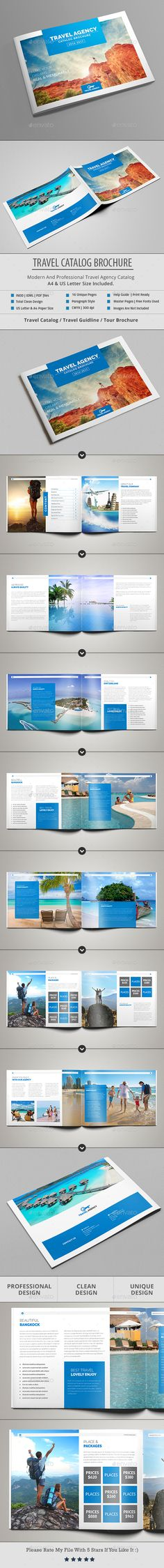 Travel Catalog / Brochure Template InDesign INDD - A4 & US Letter Size, 16 Unique Pages