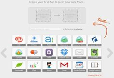 """Zapier - a wonderful find! I was looking up something, don't remember now because I become distracted by this thing called Zapier. Well this thing has blown my mind ever since. Zapier is a web based application that """"zaps"""" Email Marketing Campaign, Social Media Marketing, Dashboard App, Campaign Monitor, Evernote, Virtual Assistant, Mobile App, Create Yourself, Messages"""