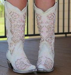 Corral White Pink Glitter Inlay and Crystals Boots Image Wedding Dress, Wedding Boots, Camo Wedding, Wedding Attire, White Cowgirl Boots, Corral Cowgirl Boots, Cowgirl Baby, Country Boots, Cowgirl Bling