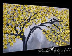Large Original Impasto Painting Our Yellow by AmberElizabethArt