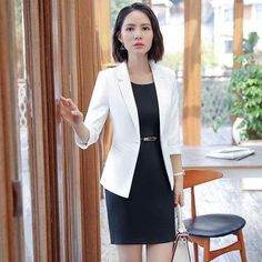YAUAMDB women dress suits 2018 spring autumn S-4XL female blazer clothing  set blazer+knee length dress 2pcs ladies clothes ly144 6d724c0f5fd8